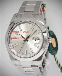 Wholesale Mens Watc - 2017 Top Quality Luxury AAA Brand Sapphire 41mm 116300 Stainless Steel Silver Dial Smooth Bezel Automatic Mechanical Mens Men's Watch Watc