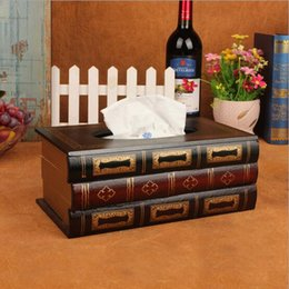 Wholesale Wood Book Box - Wholesale- 2016 New Arrival Real Tissue Case Seat Type Room Removable Tissue Covers Rilakkuma Vintage Book Style Wooden Napkin Box#S407