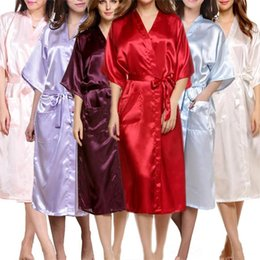 Wholesale Silk Nightgowns Blue - Women's Satin Robe Long Dressing Gown Women's Satin Kimono Bridesmaid Long Robes Women's Silk Satin Bathrobe Sleepwear S-XXXL