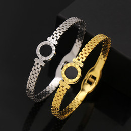 Wholesale Titanium Snap Link Bracelets - Fine fashion titanium steel black Roman numerals bracelet&bangle grid snap fastener titanium steel love bracelet for woman gift