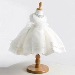Wholesale evening dresses for baby girls - high-grade lace white flower girls dresses bow princess evening tutu dress for 1 year birthday baby tulle girl baptism dress