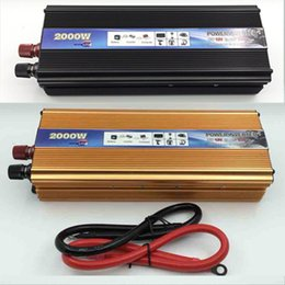 Wholesale Inverter 12v Usb - Wholesale-Black 2000W power inverter Car Vehicle USB DC 12V to AC 220V Power Inverter Adapter Converter car styling