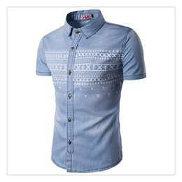 Wholesale Orange Denim Shorts For Men - Shirts for Men Fashion Mens Casual Cotton Washing Print Short Sleeve Summer Breathable Denim Shirts US Size:XS-3XL