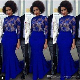 Wholesale Gold Necklaces Images - Royal Blue Long Sleeves Prom Dresses Arabic Mermaid Evening Wears Sheer NeckLace Nigerian Style Cocktail Evening Gowns BA4032