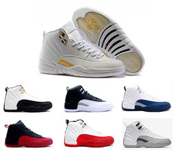 Wholesale Dark Red Embroidered Lace - 2016 air retro 12 man basketball shoes ovo white flu game wool gym cherry red GS Barons french blue TAXI sneakers for online