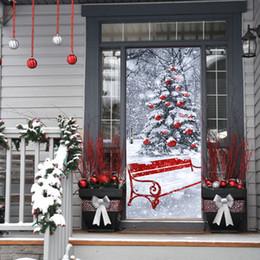 Wholesale Wooden Door Set - 200x77cm 2 PCS Set Self-adhesive PVC New Imitation 3D Door Paste Christmas Tree Creative Wall Stickers Wooden Door Renovation
