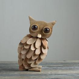Wholesale Miniature Vases - Modern Handmade Wooden Owl Miniature Animal Ornament Figurine Simulation Design Natural Animal Party Home Decoration Best Gift Vase 90
