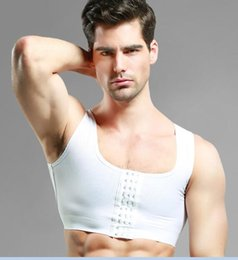 Wholesale man boobs - Wholesale-Sexy Men's Bra Gynecomastia Chest Shaper Vest For Man Boobs Moobs And Flatten Back Brace Support Black White Hooks Control