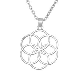 Wholesale Wholesale Yoga Jewelry - Seed And Flower Of Life Yoga Jewelry Sacred Geometry Boho Jewelry Mandala Pendant Necklace Bohemian Free Shipping