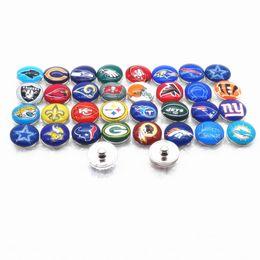 Wholesale 32 Charm Bracelet - 32pcs Super 32 teams 18mm snap Buttons DIY charms fit for Snaps button pendant Ring earrings