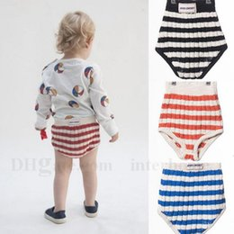 Wholesale Newborn Boy Bloomers - Boys Shorts Kids PP Pants Baby Striped Bloomers Newborn Diaper Covers Infant Triangle Pants Girls Underwear Children PP Briefs 3 Colors H680