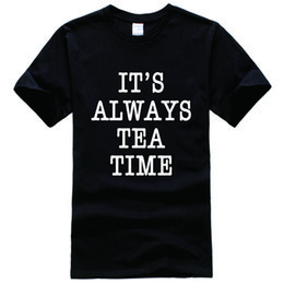 Wholesale Alice Wonderland Tea - It's tea time alice in wonderland Tee Shirt Unisex fashion women men short sleeve funny shirt 6 size