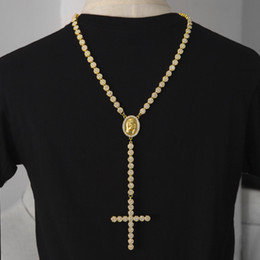 Wholesale Rosaries Gold Filled - Men Luxury Long Necklace Gold Silver Full Iced Out Rhinestones Jesus Face With Big Cross Pendant Necklace Rosary Punk Jewelry