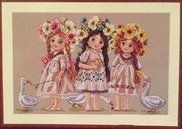 Jeunes filles point de croix kit fleur cochon oie 14ct tissu bleu clair lin tissu broderie bricolage fait à la main ? partir de fabricateur