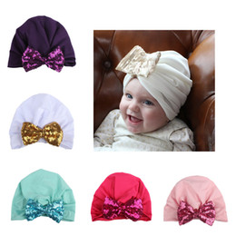 Wholesale India Hairs - New Baby Hats Big Sequin bow Caps Kids Turban Knot Elastic Caps Head Wraps India Bow Hats Kids Children Headwear Hair Accessories BH67