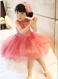 vests for party girls Promo Codes - High Quality Baby Girl Dress Lace Vest Dress for Girl Infant Princess Birthday Party Wedding Dresses For Baby Girl Chirstening