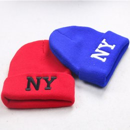 Wholesale Ny Baby Hats - 2016 new fashion baby NY skulls beanie hot Head kniting children hats spring winter sport Bboy High quality Solid caps Multi color 10pcs
