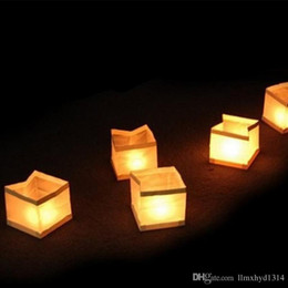 Wholesale Chinese Floating Lamps - Free Shipping 15cm Square water lamp lanterns Chinese Square Wishing Lantern waterproof Floating Water Lanterns Lamp With Candle
