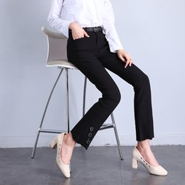 Wholesale Stylish Fashion Rings For Women - Straight Skinny Casual Black Jeans for Woman Pant Slim Flash Stylish Ring Sash Leg Opening Design High Quality