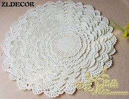 Wholesale Cake Doilies - Wholesale- ZLDECOR SS016060 8 Mixed Sizes Romantic Embossed Round White Paper doily Cake Doilies Free shipping 160pcs lot