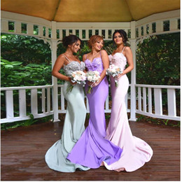 Wholesale Sex Images Satin - Sex Goddess Long Bridesmaid Dresses Spaghetti Sweetheart Applique Lace Top Formal Evening Gowns Ribbon Backless Prom Dress Custom Made