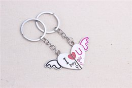 Wholesale Fashion Couple Lovers Keychain - Metal creative letters I love you keychain couple lover gift heart fashion lover's key chains pair