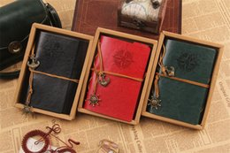 Wholesale Notepad Journal - 18.5*13cm New hot Vintage Leather Travel Journal Notebook Anchor Rudder Decoration Notebook retro medium size diary book notepad z093
