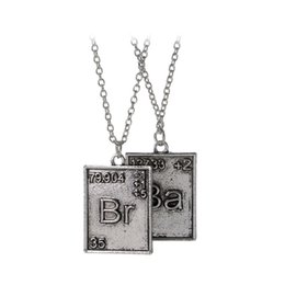 Wholesale ba jewelry - Breaking Bad Necklace Chemical Symbol Br Ba 2 square Pendants Couple Necklaces women men statement jewelry Christmas gift 160560
