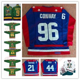 Wholesale Red Reeds - D2 The Mighty Ducks Movie#21 Dean Portman 44 Fulton Reed 96 Charlie Conway Team USA All-Star Hockey royal blue green Stitched Jerseys S-3XL