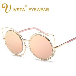 Wholesale Red Rectangle Ring - IVSTA 6649 Fashion Sunglasses Women So Nice Real Double Diamond Ring Cat Eye Sunglasses Woman Pink Mirror Lenses