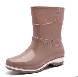 Wholesale Pvc Wellies - Wholesale-Women Spring Fashion black red beige platform Mid-Calf Rain Boots Waterproof Wellies Boots lady Rainboots Water Shoes