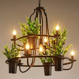 Wholesale Vintage Flower Lamp - Pendant lamps creative Personality chandeliers American European industrial vintage artistic chandelier flower shop clothing store club bar