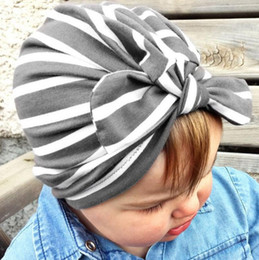 Wholesale Head Covers Beanies - 2017 Baby Hats striped Bunny Ear Caps Ears Cover Hat Europe Style Turban Knot Head Wraps Infant Kids India Hats Beanie