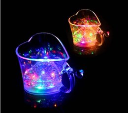 Wholesale Glass Vases Free Shipping - V Water Lights Luminescent Glass Moonlight Luminous Cup LED Luminous Cups Cold Light Mugs Valentine Gift Free Shipping 5 5jc R