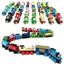 Wholesale Engine Magnetic - Kids Toys Wooden Engines & Train Cars Cartoon Collection Compatible 70 Pcs Railway Trains Friends Model Best Baby Christmas Gifts