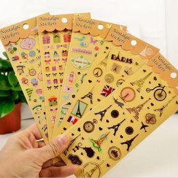 2019 calendario del libro de recuerdos Al por mayor- Gilding + PVC Tower Animal Cat / Owl Planner Calendar Book Diario lindo Sticker Scrapbook Decoración 20 estilo Envío gratis calendario del libro de recuerdos baratos