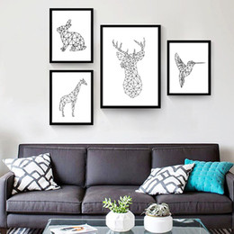 Wholesale Giraffe Draw - Geometric Deer Giraffe Rabbit Flying Woodpecker Posters and Prints Canvas Wall Art Prints Hand Draw Painting Minimalist Pictures Living Room
