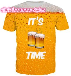 Wholesale Red Top Beer - New Fashion Couples Men Women Delicious Food and Coke Sprite Beer 3D Print No Cap Casual T-Shirts Tee Tops Wholesale S-5XL T33