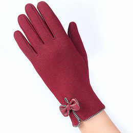 Wholesale Cheap Leather Glove - Wholesale Cheap Touch Screen Gloves Female Artificial Leather Waterproof Gloves Autumn Winter Warm Women Korean Skidproof Full-Finger Gloves