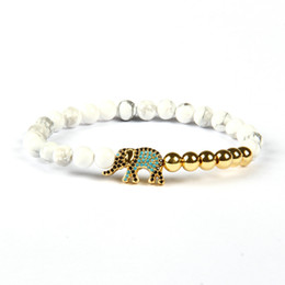 Wholesale White Elephant Charms - Brand New Lucky Jewelry Wholesale 10pcs lot 6mm Natural White Howlite Stone With Beautiful Colors Elephant Bracelet For Friendship