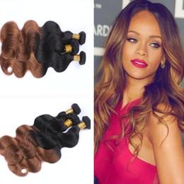 "Wholesale Dip Dye Hair Extensions - 3pcs lot Ombre Hairs 10""-24"" Brazilian Human Hair Extensions Ombre Dip Dye Two Tone T1B #30 Hair Weave Weft Body Wave Cheap Hair Extensions"