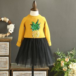 Wholesale 18 Month Girl Sweater - New Autumn Girls Outfits Sets Sweaters Pineapple Sequins Knit Sweater Tops + Lace Tulle Skirts 2 Piece Set Suits Kids Girl Party Sets A7705