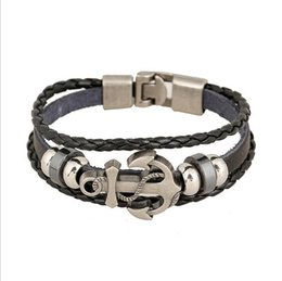 Wholesale Wholesale Cuffs - 2017 DIY leather Beaded Bracelets for men Fashion Charm Jewelry Punk Wax Rope Cuffs Bangles Anchor Multilayer Alloy Bracelet