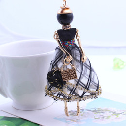 Wholesale Woman Fashion Doll Dresses - Wholesale-2016 Trendy PARIS Handmade Dance Doll Pendants Necklace Long Dress Rhinestone necklace Fashion Women Girl Kids necklace charms