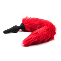 Wholesale Red Anal Plug - Luxury Red Design Fetish Nature PolyesterTail Fox Tail Anal Butt Plug Fantasy Sex Restraints Bondage SM Large+Medium+Small Anal Stimulate