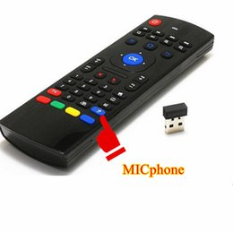 Wholesale Iptv Remote Control - MX3 Fly Air Mouse With Mic Intelligent 2.4G Remote Control Fly Air Mouse MX3 Wireless Keyboard For TV BOX PC HTPC IPTV