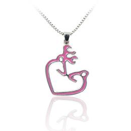 Wholesale Buck Pendants - Wholesale-Pink Buck & Doe His Hers Hollow Heart Pendant Necklace Memorial Pendants Animal Charms Couple Men Women Lovers Wholesale