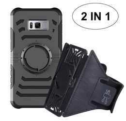 Wholesale Silver Armbands - Galaxy S8 case plus case with sport armband metal plate multi-function case for iPhone 6 6S 7 Plus Samsung S7 edge