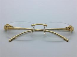 Wholesale Titanium Rimless Frames For Men - luxury brand glasses Prescription T8200879 rimless gold frame leopard animal legs optical for men design clear glass