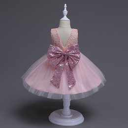 Wholesale Sleeveless Baby Ball Gown - 2017 Girl lace paillette camisole dress kids baby princess party bowknot Rainbow colors sleeveless tutu Dress skirt MSG054